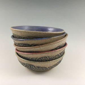 sgraffito pottery bowls
