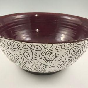large pottery serving bowl