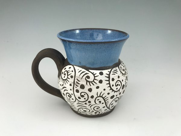 blue sgraffito mug