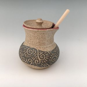 pottery honey pot