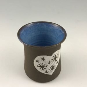 Heart Tumbler on Dark Brown Clay Body - Blue Inside
