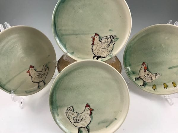 handmade chicken pottery plate