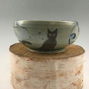 blue kitty cat yarn bowl