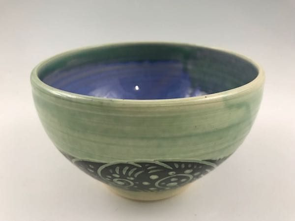 Green Sgraffito Bowl