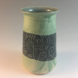 Green sgraffito vase