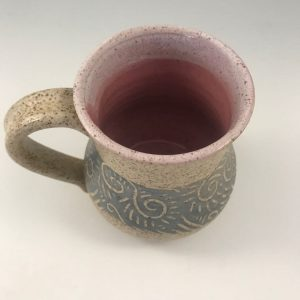 pink pottery coffee mugs