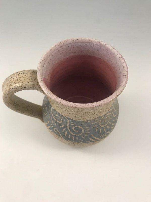 pink pottery coffee mugs