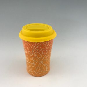 orange sgraffito travel mug