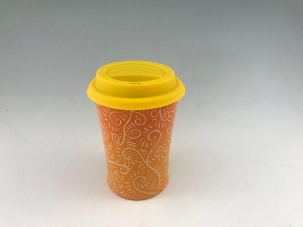 orange sgraffito travel mug