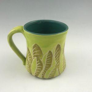stoneware leaf mug