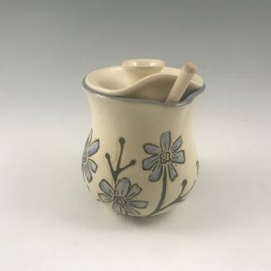 Sgraffito Flower Honey Pot