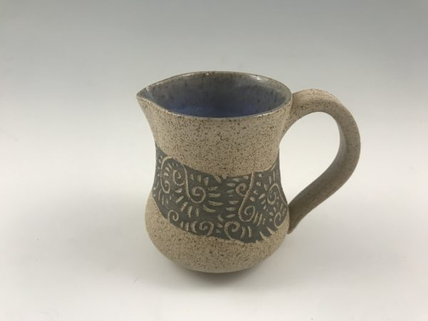 speckled sgraffito pitcher