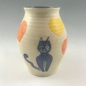 sgraffito smiling cat vase