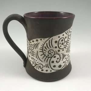 dark clay beer stein - purple inside