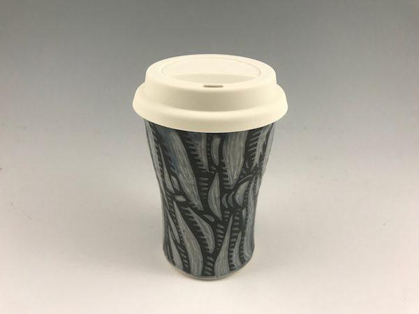 blue sgraffito travel mug