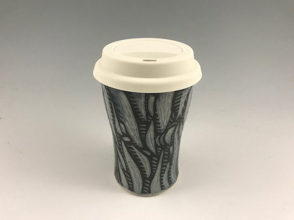 blue sgraffito travel mug