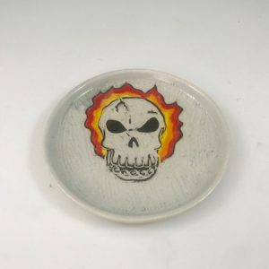 flaming skull dish