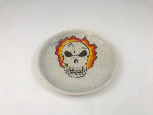flaming skull dish