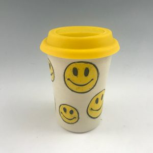 smiley face emoji travel mug