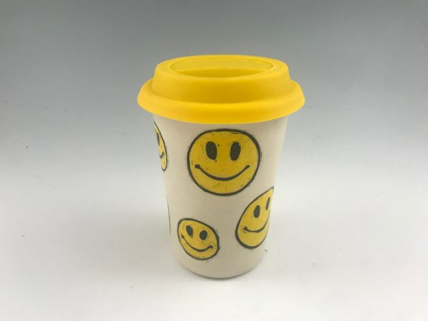 smiley face emoji travel mug