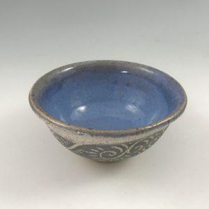small blue sgraffito bowl