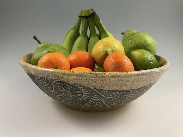 sgraffito fruit bowl