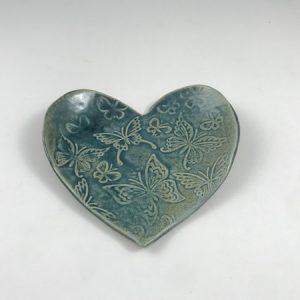 blue butterfly heart dish