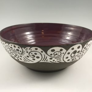 sgraffito serving bowl