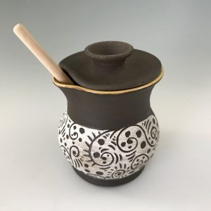 sgraffito honey pot