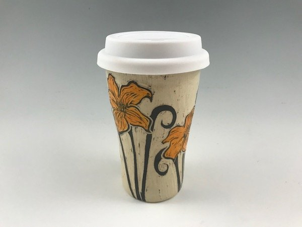 sgraffito flower travel mug