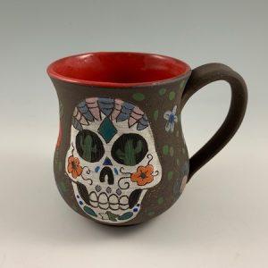 Handmade sugar skull mugs