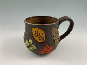 handmade leaf peeping mug