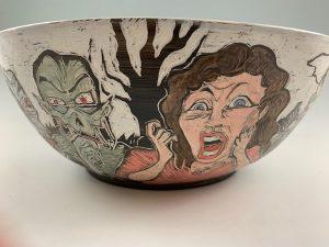 sgraffito halloween pottery
