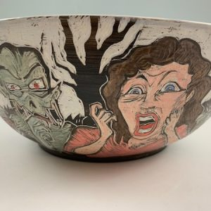 sgraffito halloween pottery